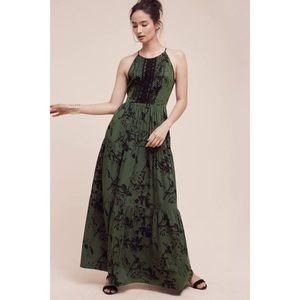 Anthropologie Ranna Gill Green Maxi Dress Size 0